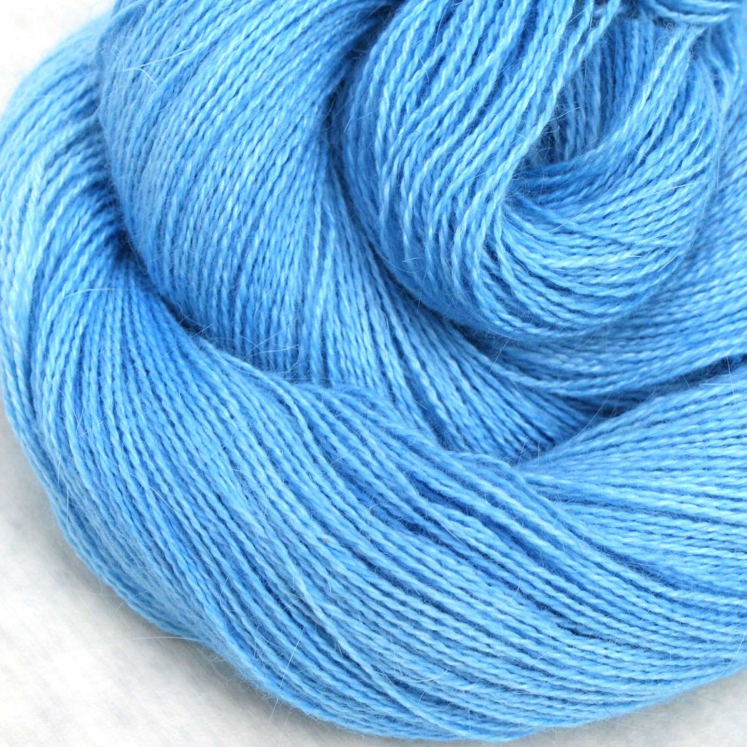 Hand Dyed Angora Silk Laceweight Yarn - Clear Skies
