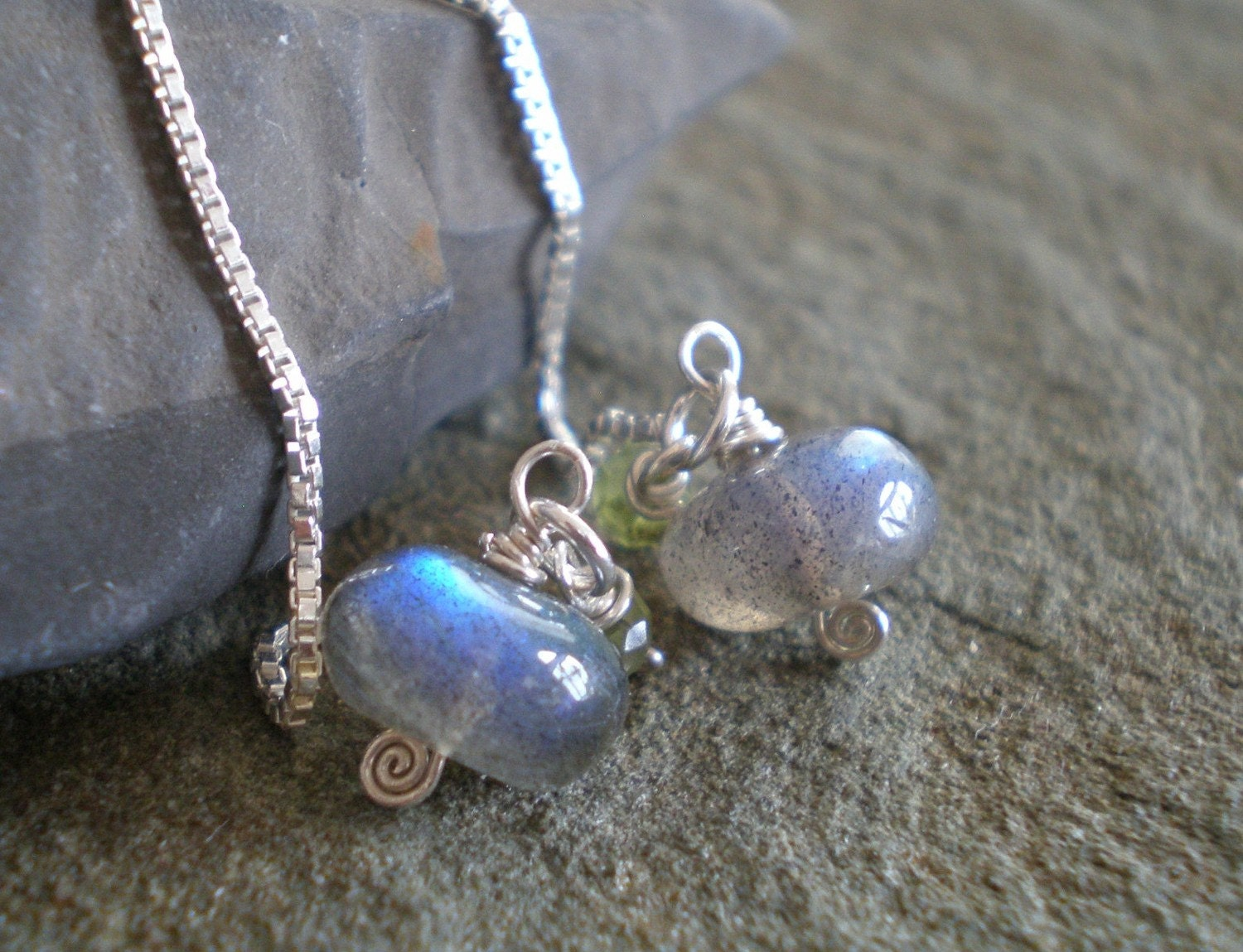 Storm Earrings- Labradorite, Peridot Ear Threaders in Sterling silver