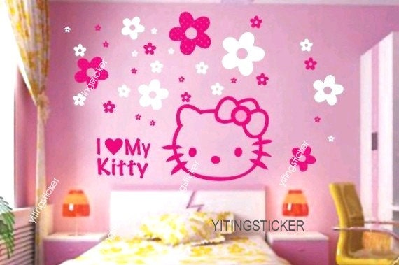 modern decor wall sticker art deco hello kitty by yitingsticker