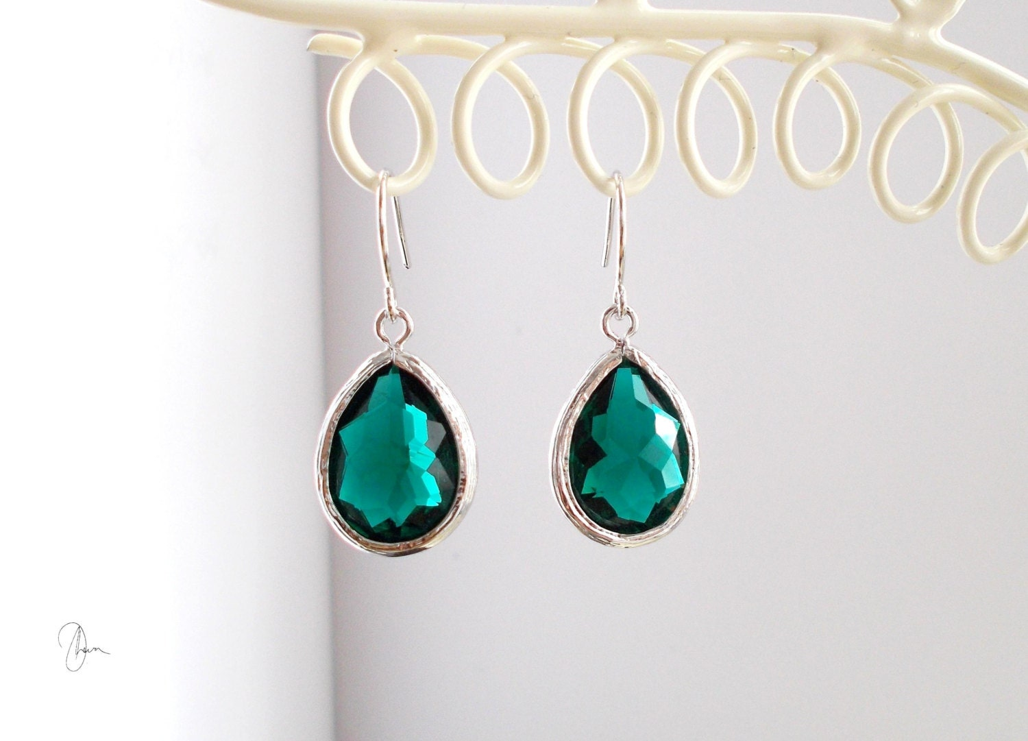 Emerald Green Crystal Earrings  Silver Bridesmaids Jewelry  Wedding Bride Maid Of Honor Gift  Small Dainty Minimal Crystal Jewelry