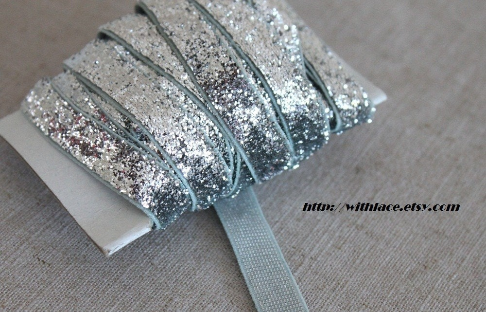 SALE---5 yds silver glitter ribbon---10mm