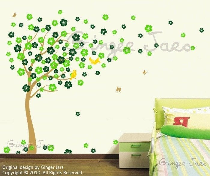 NEW DESIGN Wall decal vinyl art sticker Blowing Cherry Blossom Tree