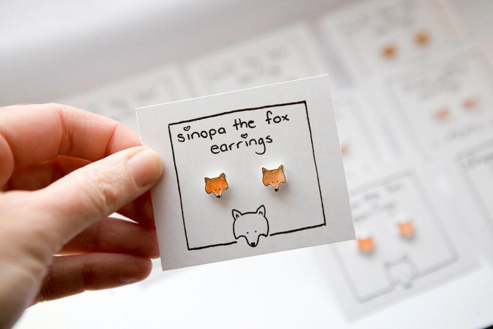 Red Fox Earrings - Stud Earrings, Post Earrings, Silver Plated