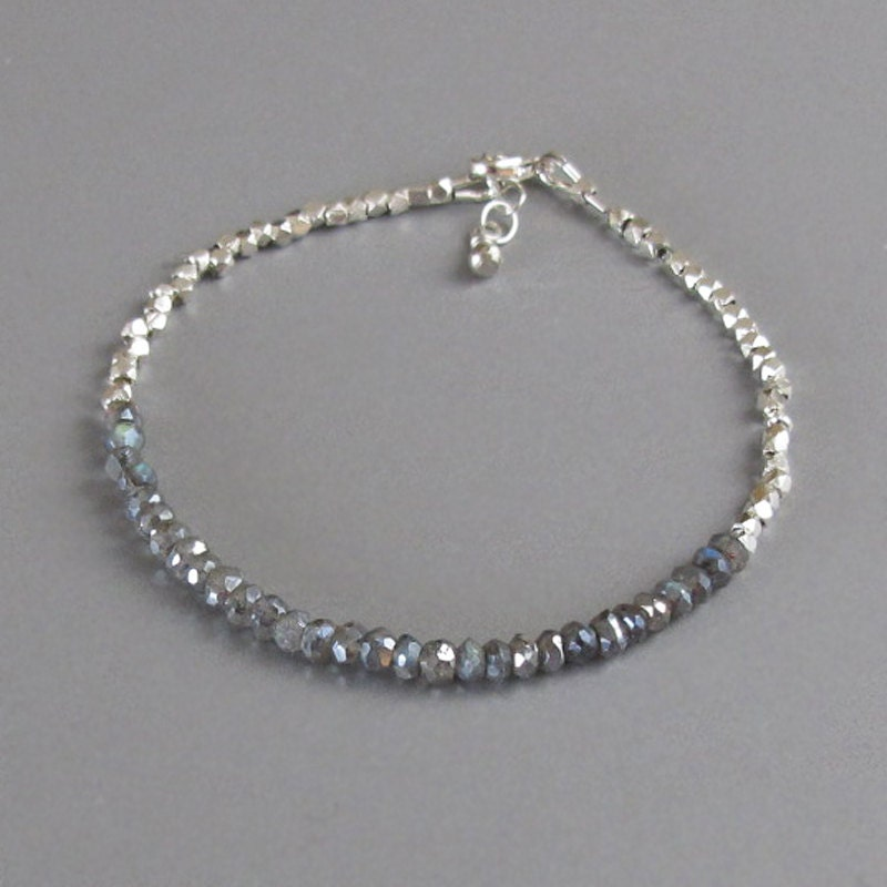 delicate tiny faceted handmade silver bead labradorite by