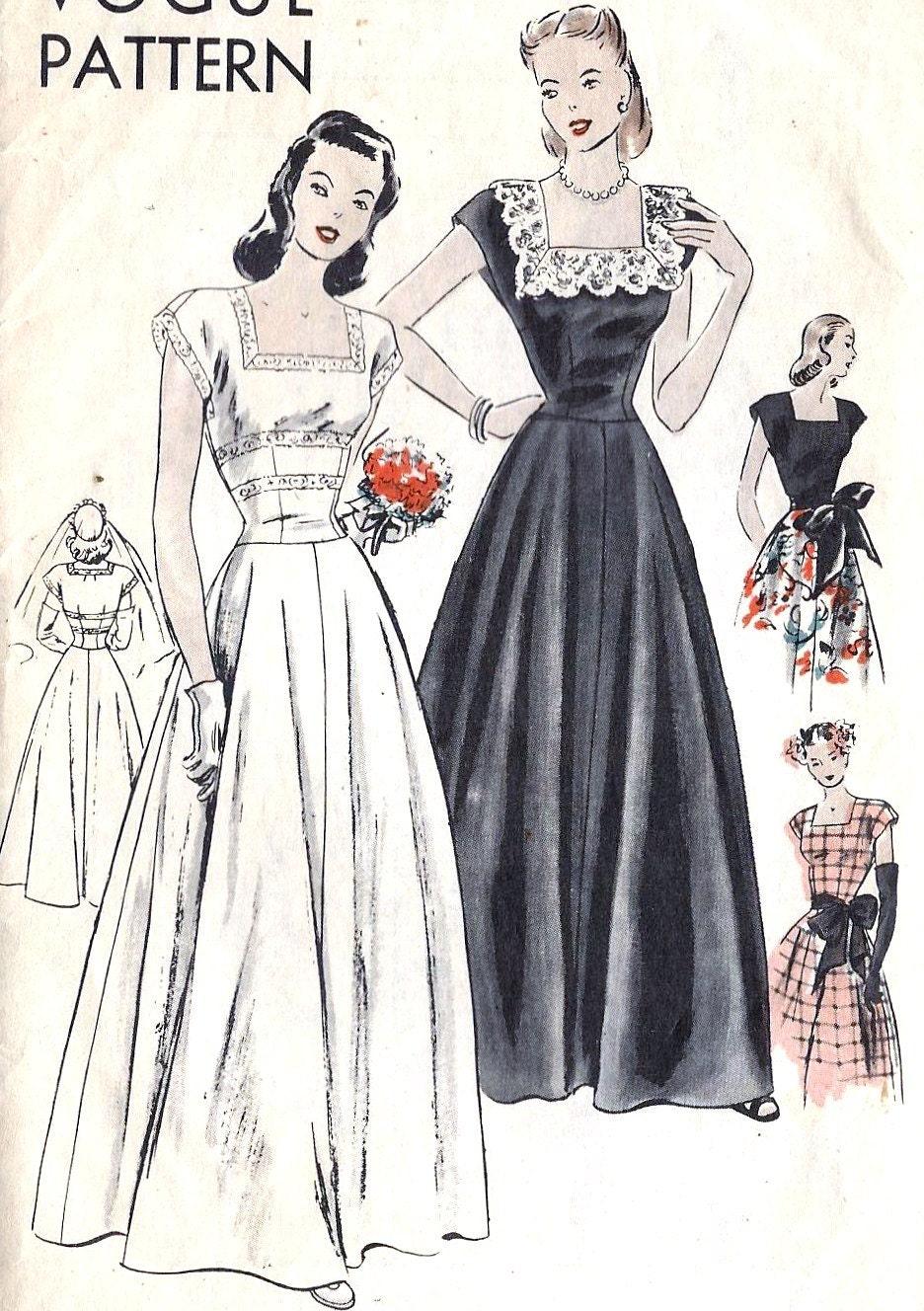 Evening Gown 1940s Dress Pattern