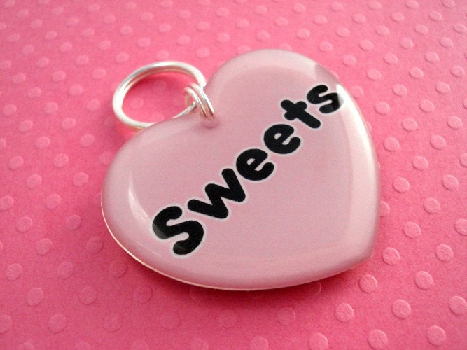 ON SALE  Pink Heart Shape Pet ID Tag by HappyTags on Etsy from etsy.com