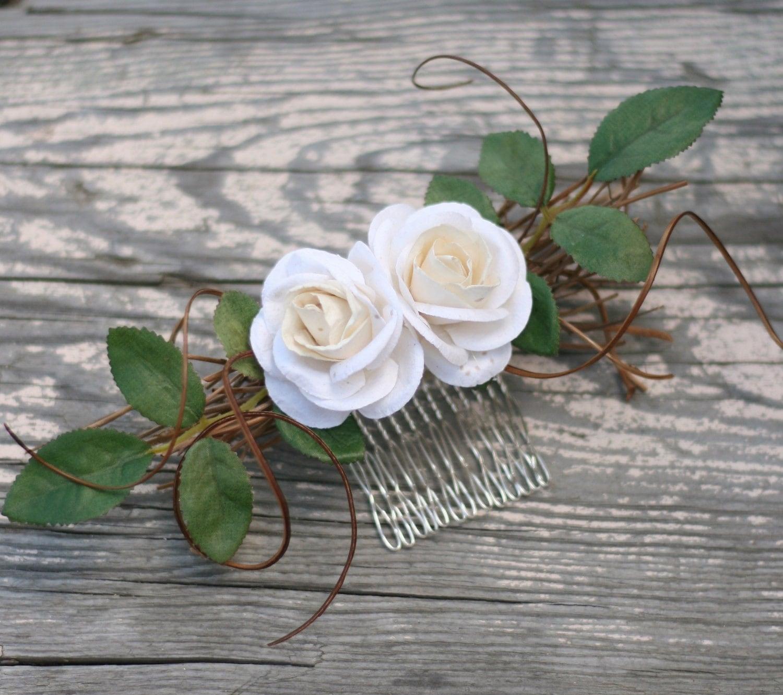 Сельский Лесной Vintage Вдохновленный расчесывать волосы бумажными розами Листья Ветки