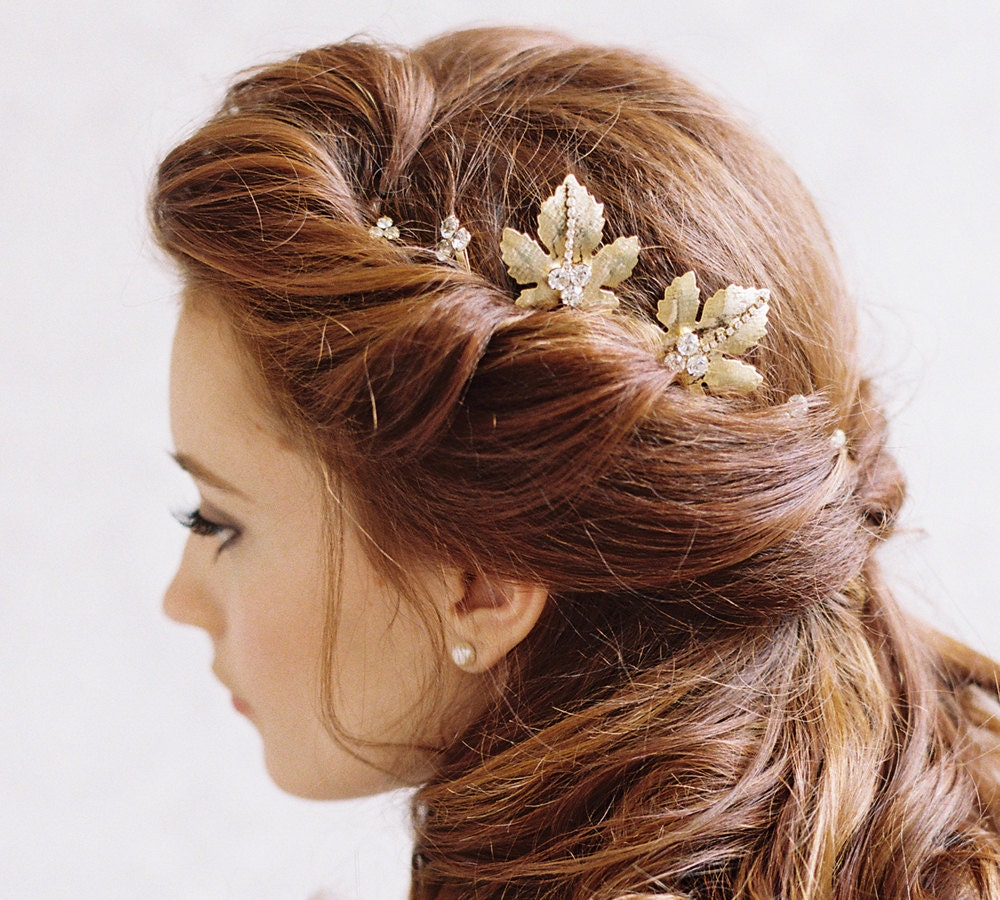 Bridal Hair With Pins : Gold leaf and rhinestone bridal hair by