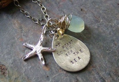 My Heart Longs for the Sea stamped sterling and gemstone necklace
