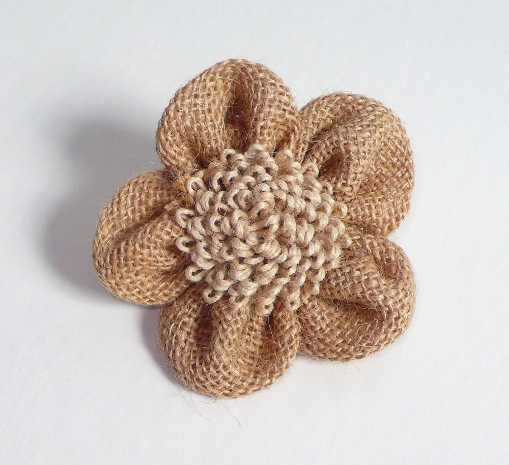 Organic burlap flowers set of 3 by trimsnsuch on etsy for Burlap flower template