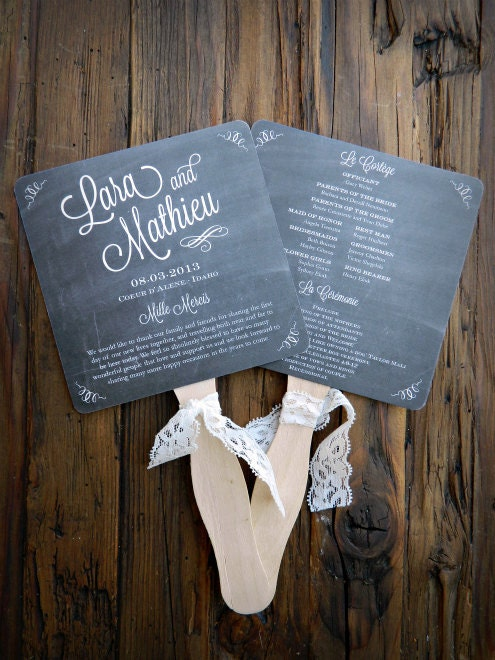 chalkboard wedding program fans by paperandlaceaustin on etsy
