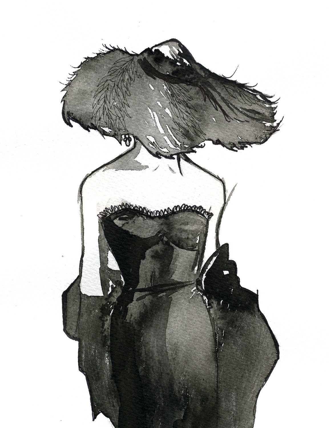 Watercolor Fashion Illustration: Dior Dame print