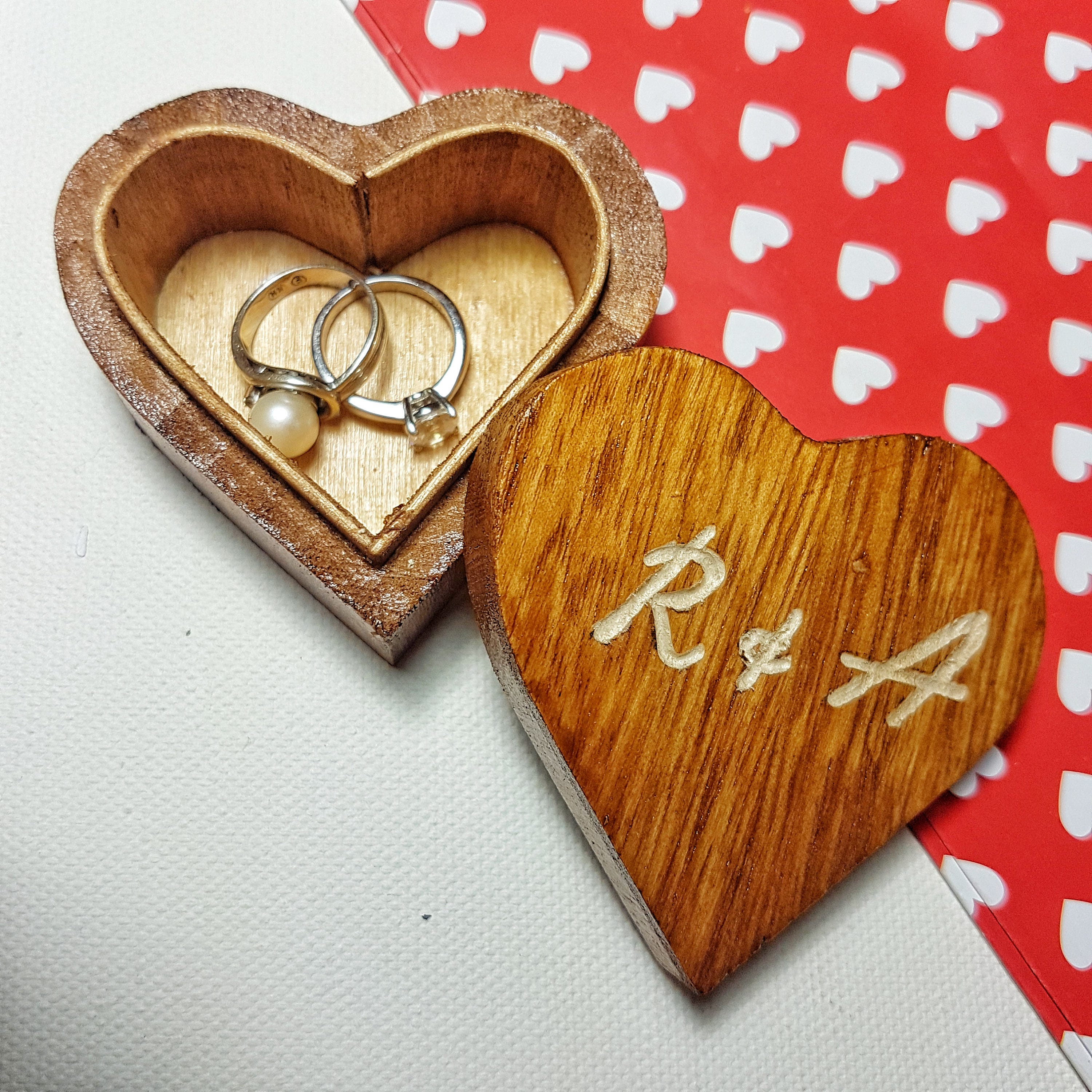 Personalised Engraved Jewellery Box  Wooden Heart Box  Ring Holder  Anniversary Gift  Engagement Gift  Proposal Box  Wedding Keepsake