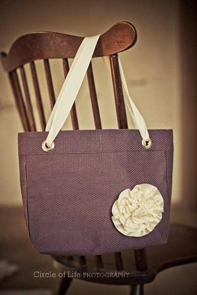 Placemat purse eggplant with ribbon flower pin