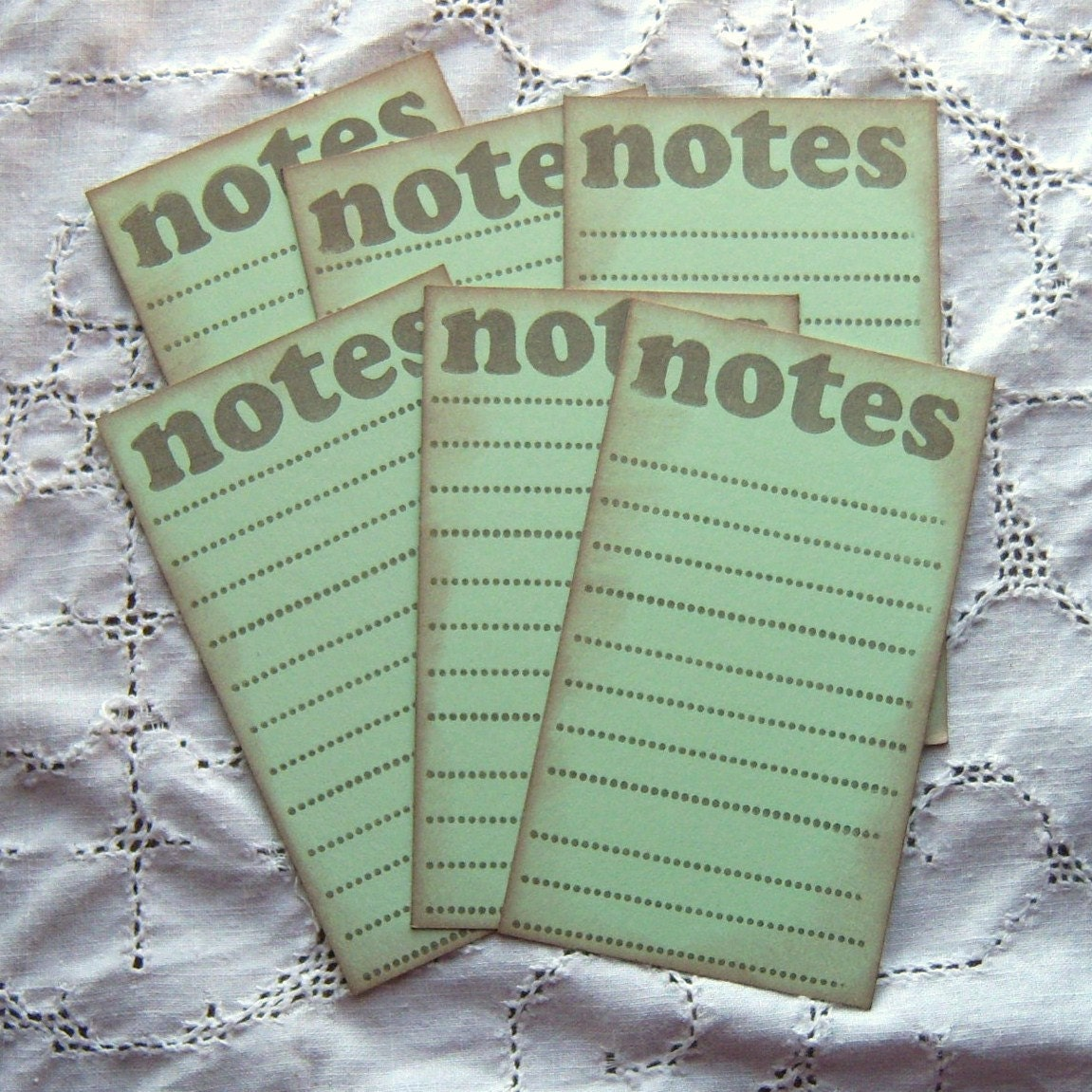 NOTES Lined Journaling Cards Mint Green and Brown - Vintage inspired