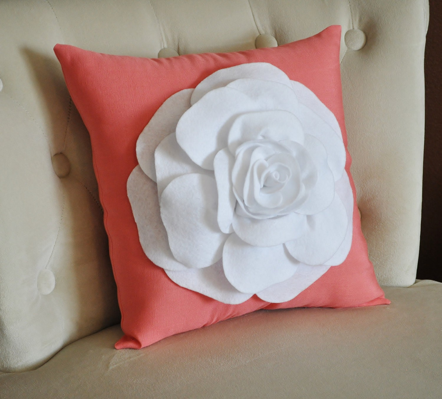 White Flower on Coral Pillow -Coral Pink- Red Orange Salmon Linen- Rose Pillow 18 x 18