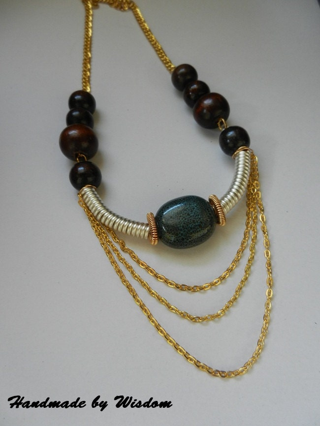Gold and Silver Statement Necklace w/wood beads
