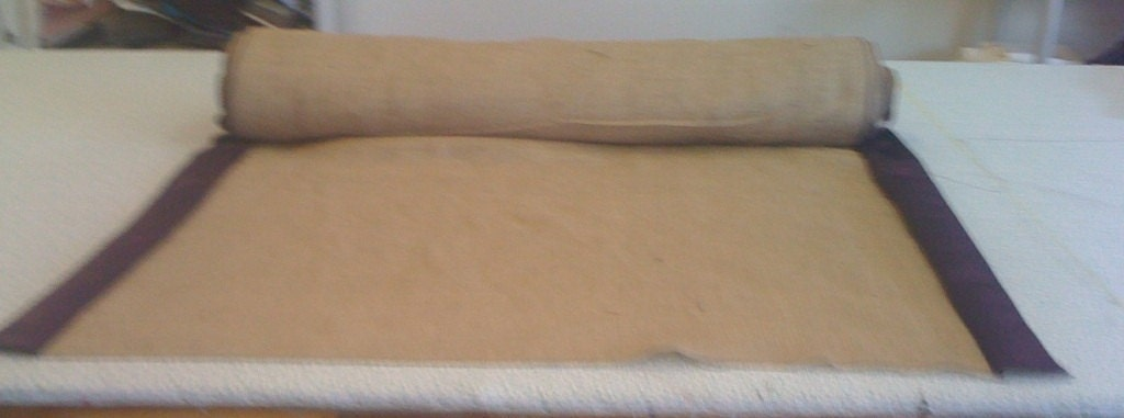 Burlap Custom Made Aisle Runner 50ft with lapis satin border on both sides