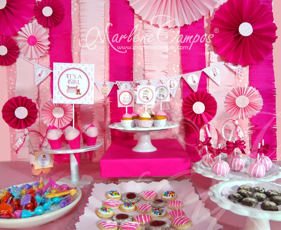 baby shower girl fancy room girls party package by paperartbymc