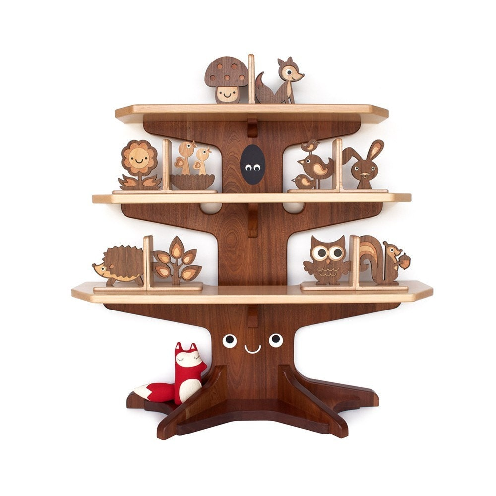 SALE Woodland Happy Tree Bookshelf with 4 by graphicspaceswood