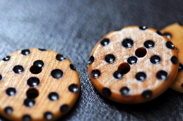 Spotty Dotty Wooden Buttons Woodburning by LiDDesignsSupplies from etsy.com