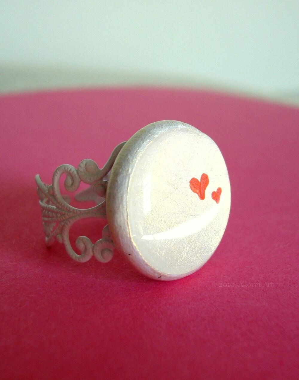 Tiny Loves.  Handpainted Art Ring.