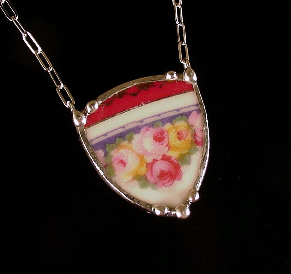 Broken china jewelry necklace rose shield antique porcelain broken plate necklace