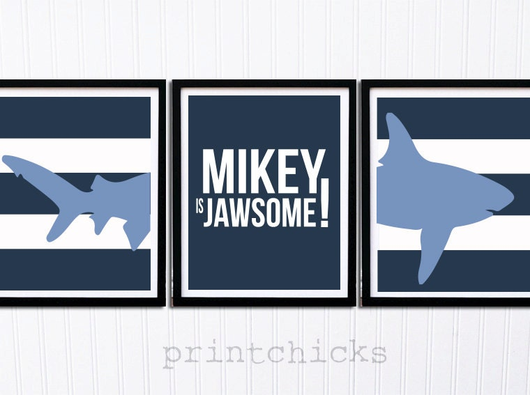 Shark Bite Prints Childrens Bathroom Decor Boys Room Decor 3 Prints