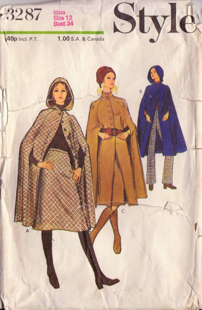 1970s Vintage Simplicity Cape, Skirt, and Trousers Sewing Pattern-Bust 34