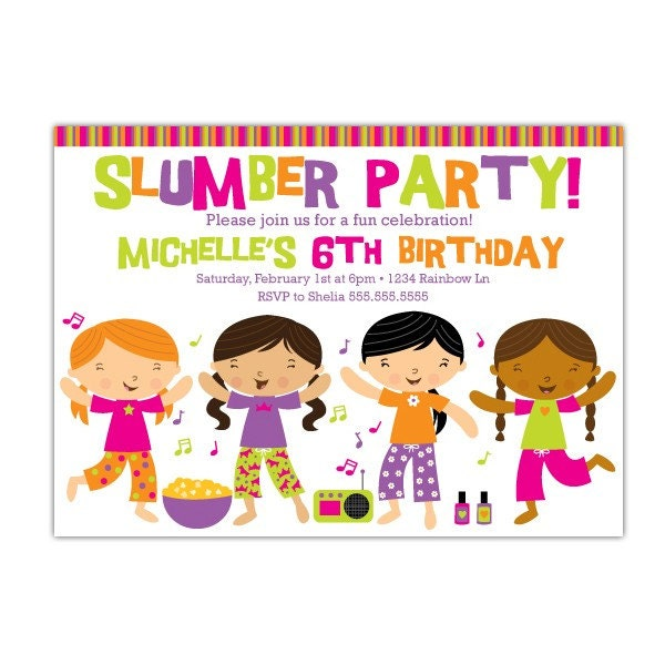 sleepover party invitations free. Slumber Party Custom Printable