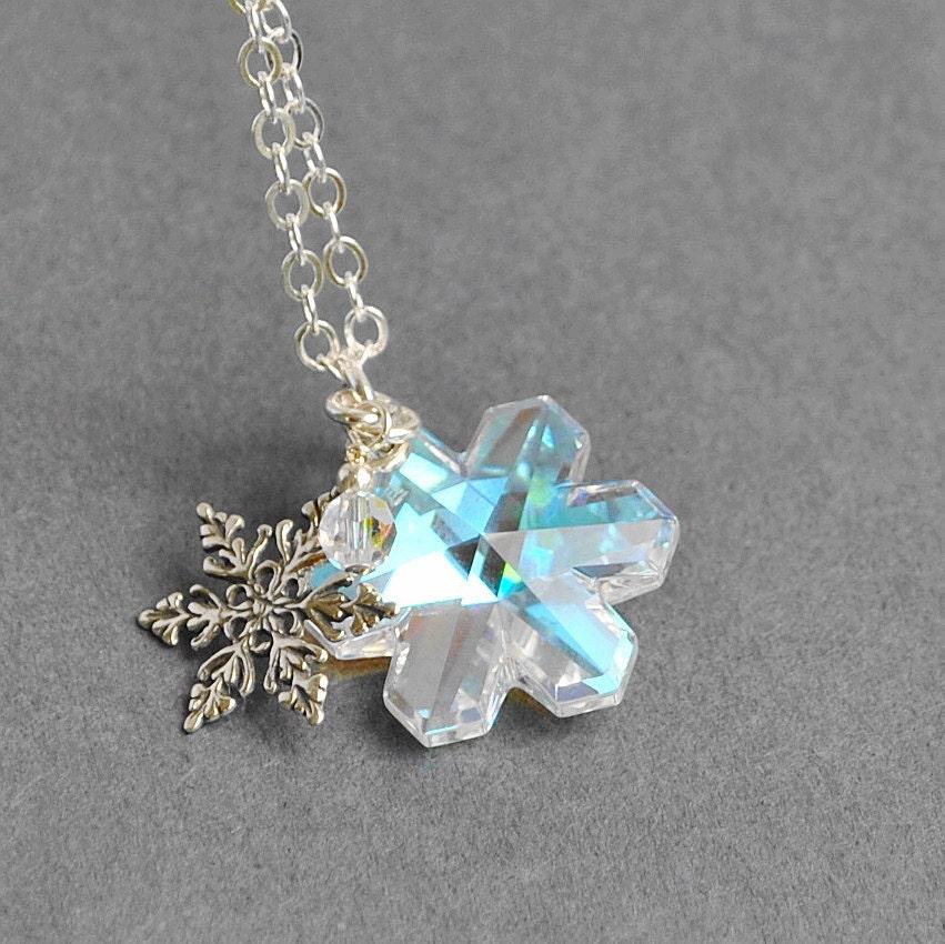 Sterling Silver Snowflake Necklace, Swarovski Crystal Snoowflake Necklace, Holiday Necklace, Christmas Jewelry