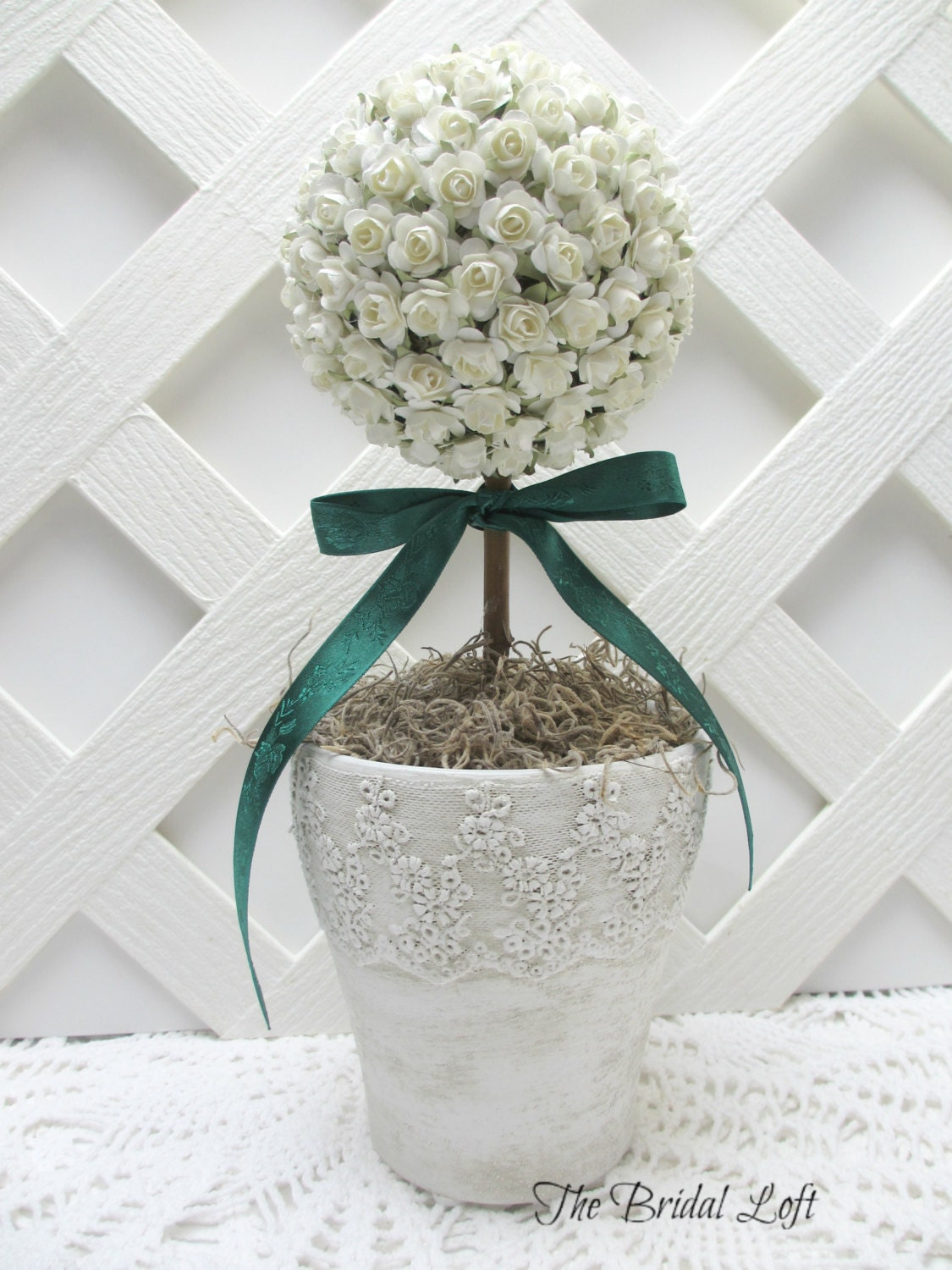 Rose topiary in lace ceramic pot table centerpiece by