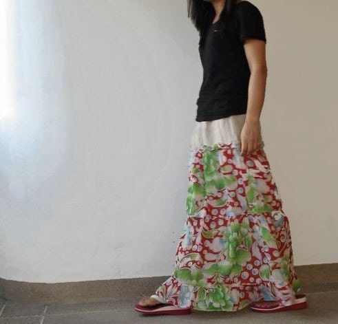 LAST ONE, Indian cotton voil skirt (green and red), ready to ship