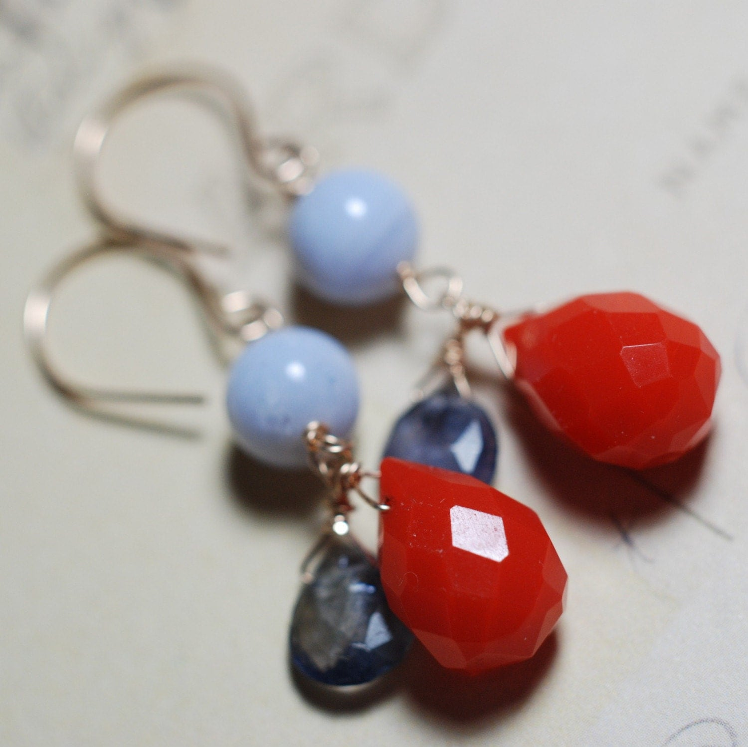 Crimson Sea Earrings - Blue Lace Agate, Iolite and Vintage Glass - 14K Gold filled - SALE - Now only 20.80