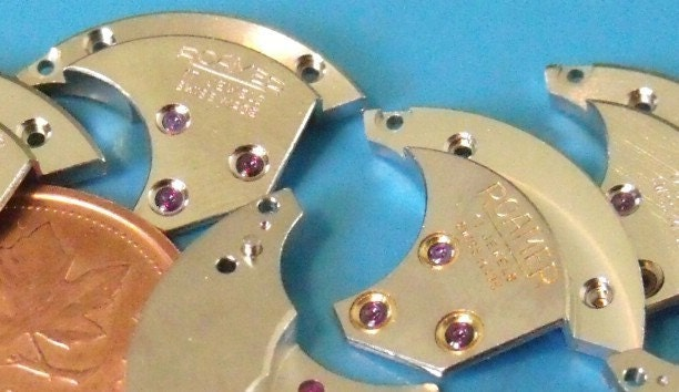 2 GENUINE RUBY-Studded Bridges By Roamer, NOS Vintage Watch Parts (A30-9)