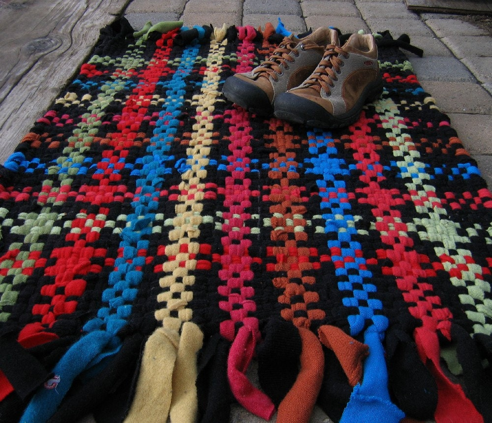 Handwoven Recycled Sweater Mixed Fibre Rag Rug