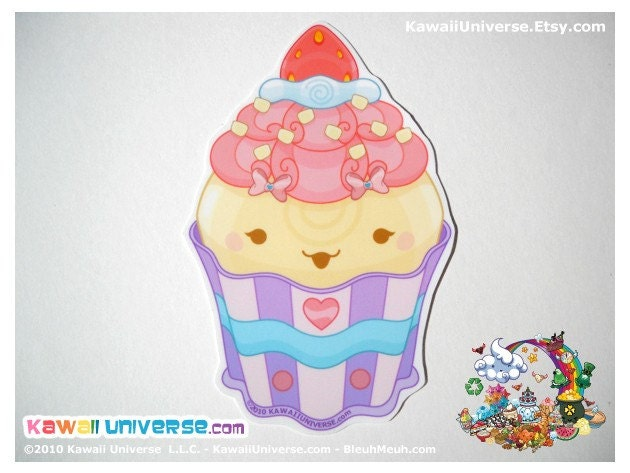 Kawaii Strawberry Cupcake Vinyl Sticker Cling