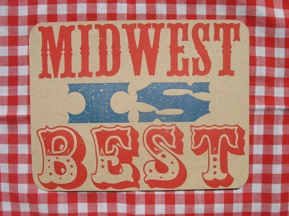 midwest is best letterpress printed postcard