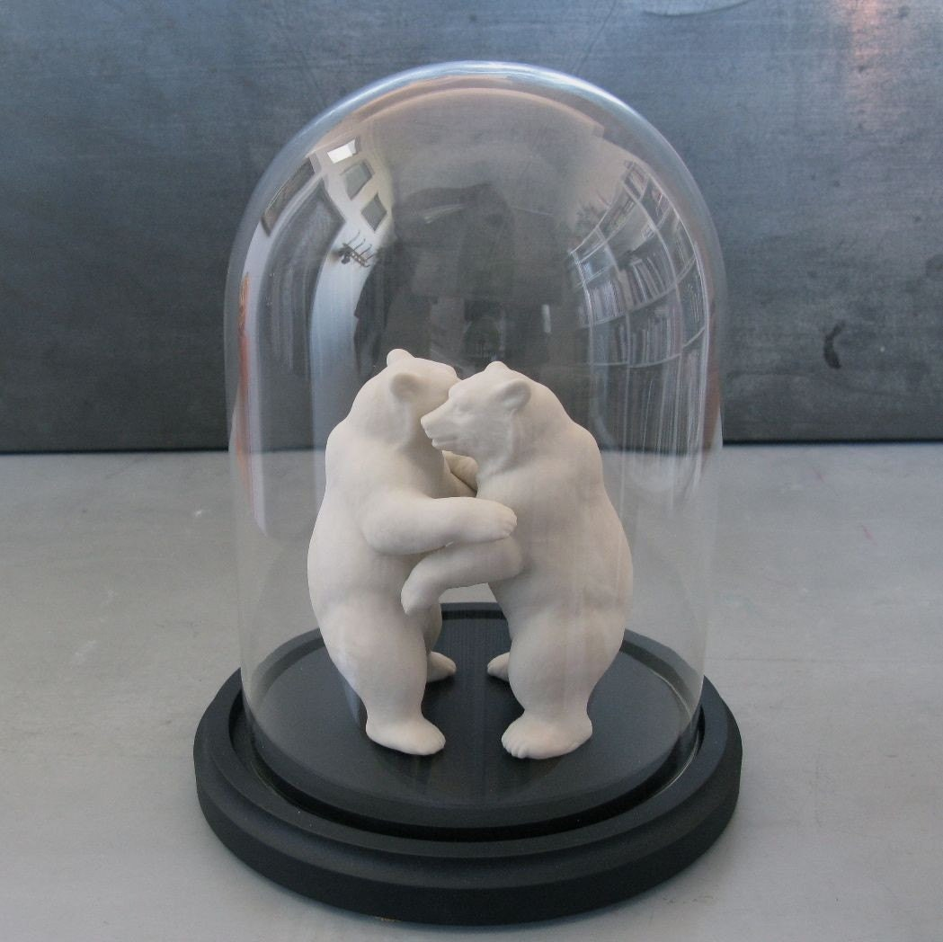 Bears in love under glass