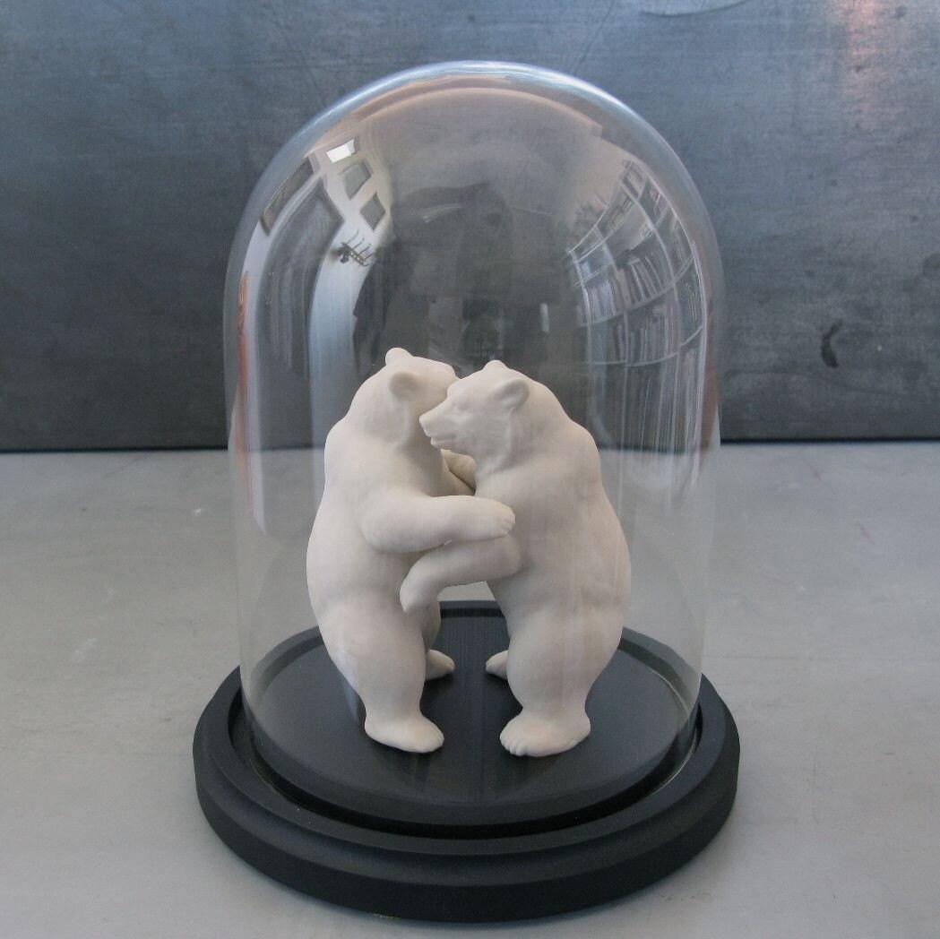Bears in love under glass