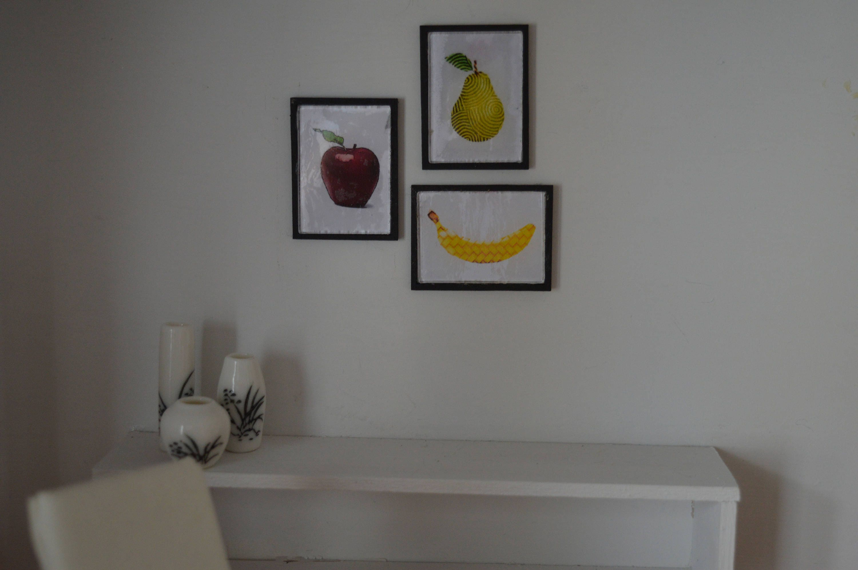 Trio of fruit framed art 112 miniatures