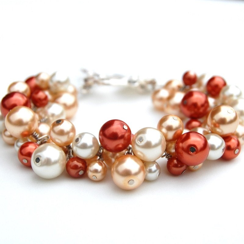 Burnt Orange, Champagne and Ivory Pearl Cluster Bracelet