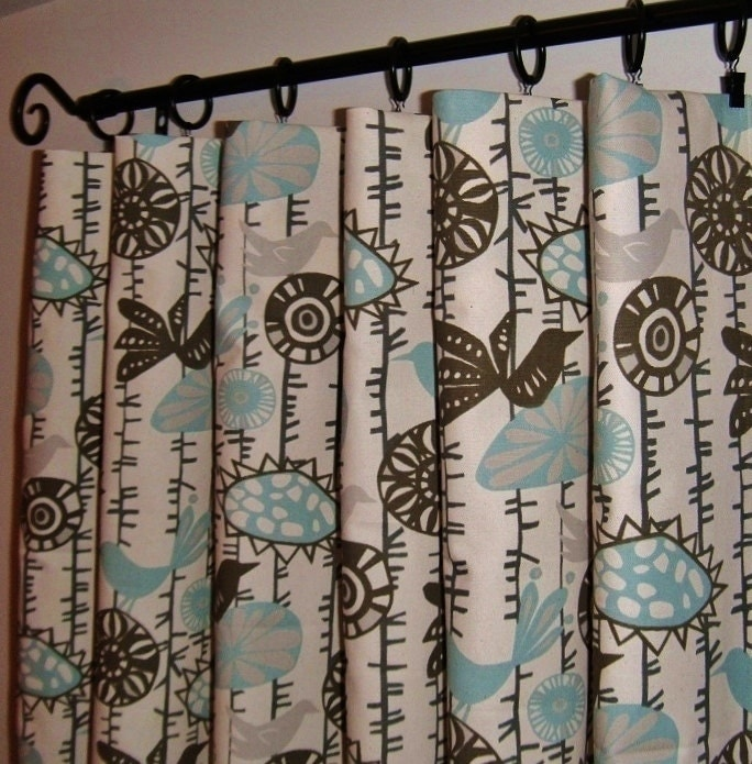 Window curtains owl curtain bird curtain 50 quot wide x 60 64 quot length