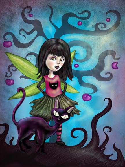 Fairy Girl Loves Cats Fantasy Art Print