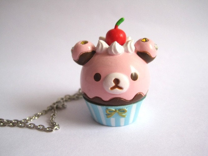 Sweet Kawaii Rare Limited Rilakkuma Pink Relax Bear cupcake with cherry and whipping toppings