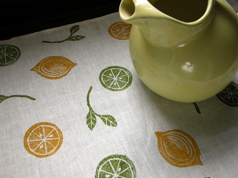 Lemon Lime Home Decor Linen Table Runner by giardino on Etsy