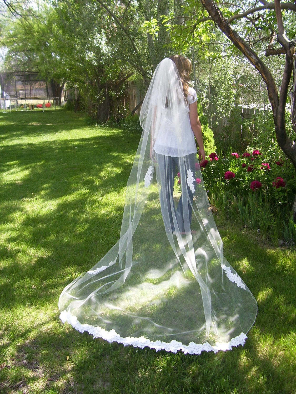 "Ivory  2 Tier Cathedral length 110"" custom made  Wedding bridal Veil plain lace bottom & edge trim pencil edge"