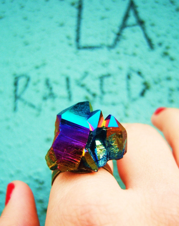 holiday Sale-L.A. Raised-Evernight-Rainbow Titanium Aura Crystal-adjustable brass ring
