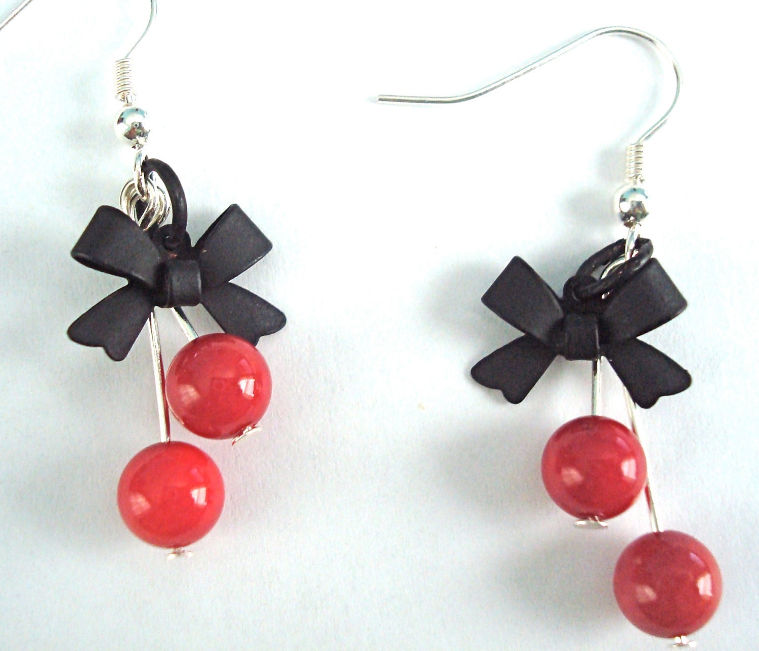 Cherry Red Black Bow Earrings