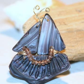 Swirled Raisin Antique Sandwich Glass Sailing Ship Pendant and Brooch with Cape Cod Beach Glass and Andalusite Gemstones